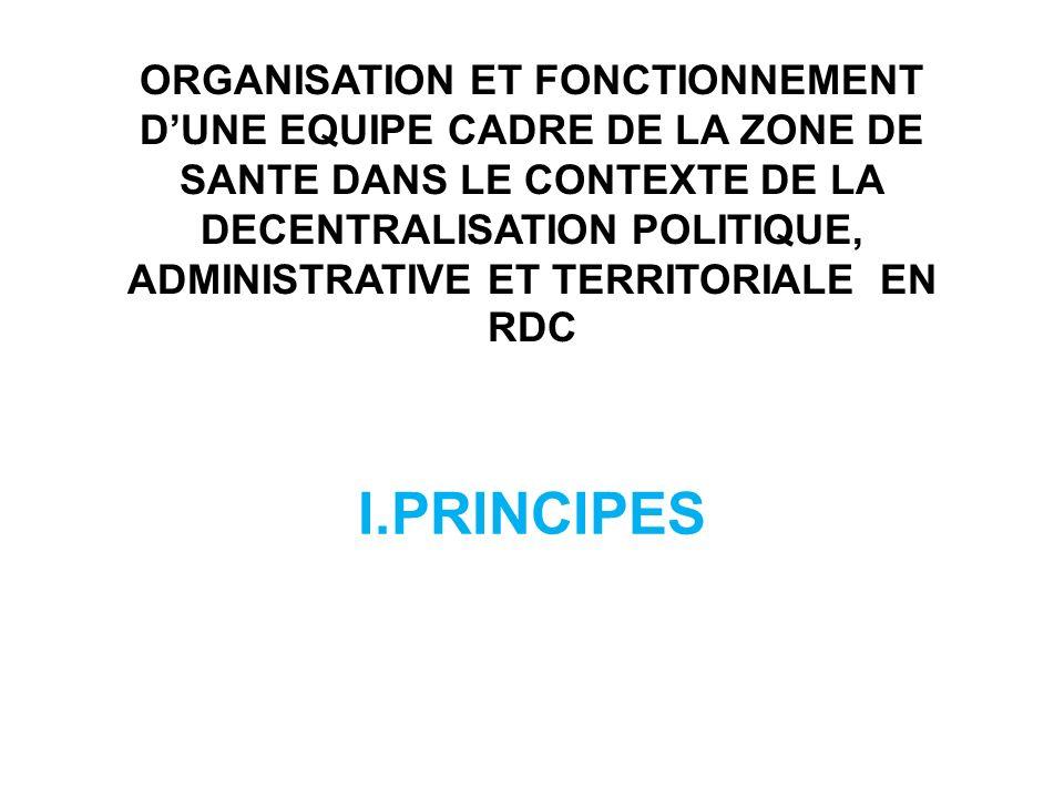 ORGANISATION ET FONCTIONNEMENT D'UNE EQUIPE CADRE DE LA ZONE DE SANTE DANS LE CONTEXTE DE LA DECENTRALISATION POLITIQUE, ADMINISTRATIVE ET TERRITORIALE EN RDC
