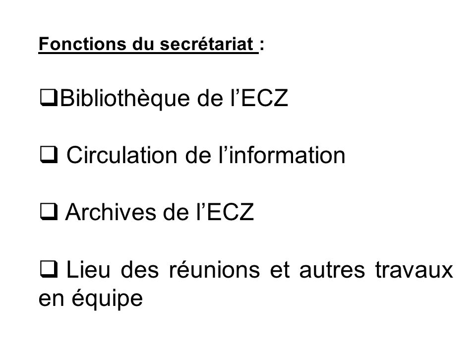 Circulation de l'information Archives de l'ECZ