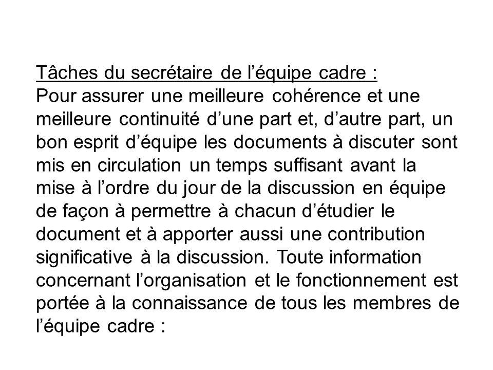 Tâches du secrétaire de l'équipe cadre :
