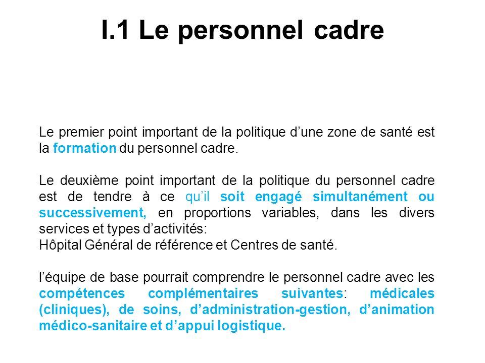I.1 Le personnel cadre Le premier point important de la politique d'une zone de santé est la formation du personnel cadre.