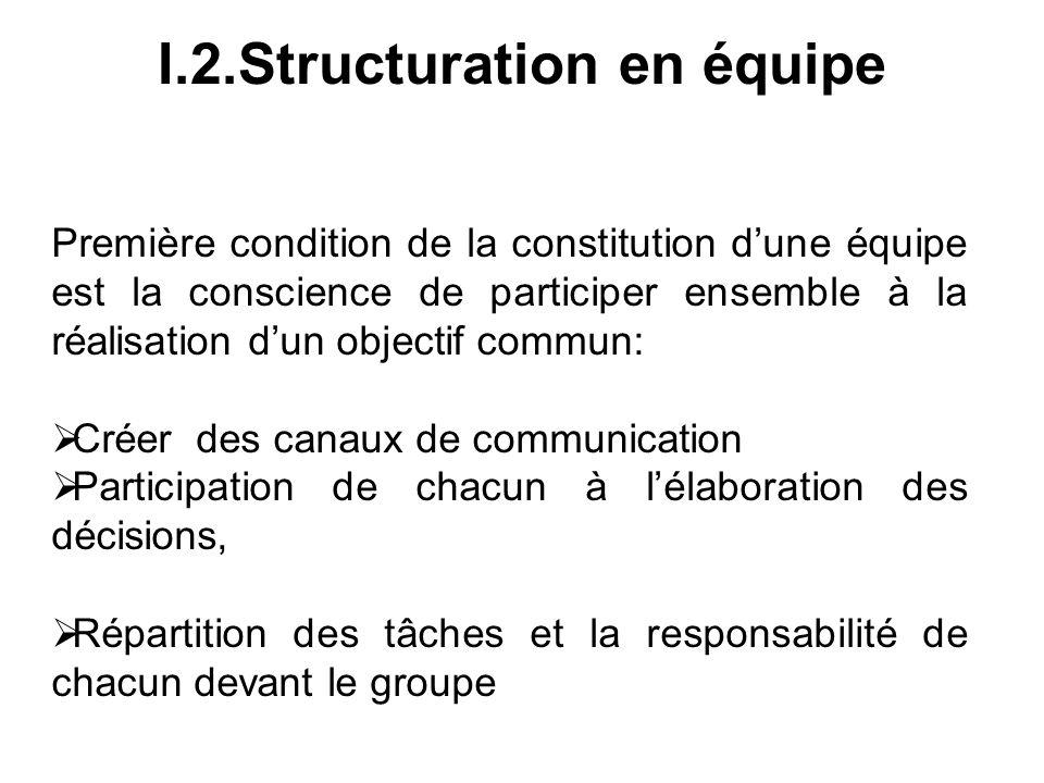 I.2.Structuration en équipe