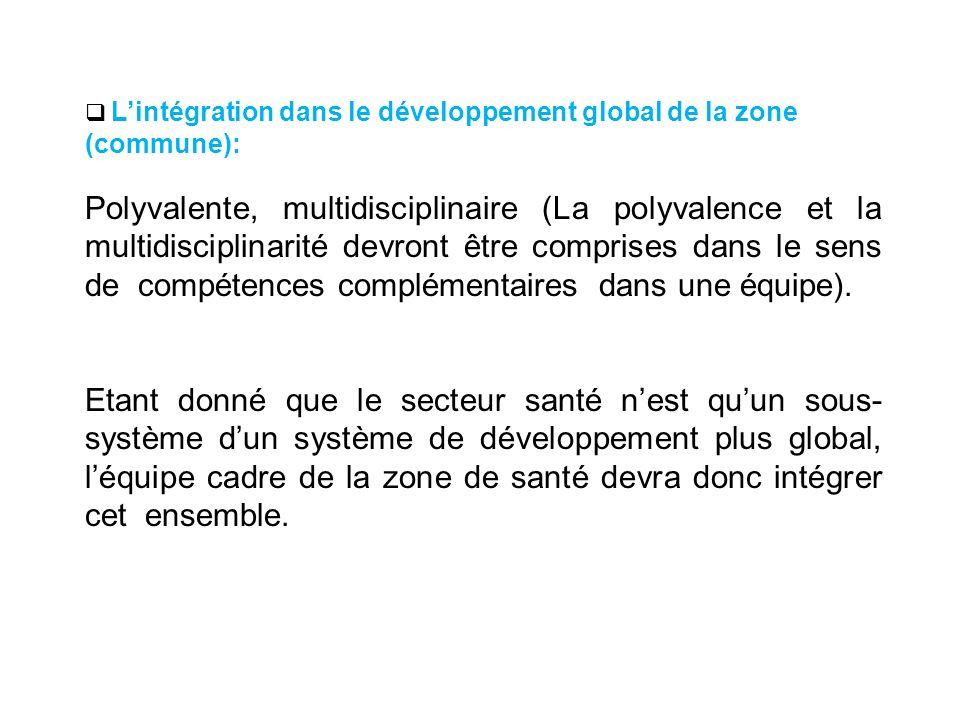 L'intégration dans le développement global de la zone (commune):