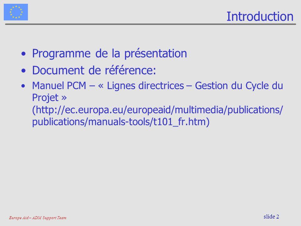 Introduction Programme de la présentation Document de référence:
