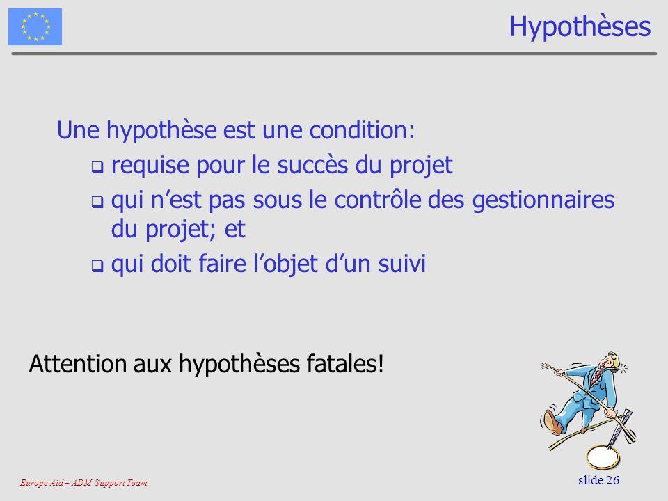 Hypothèses Une hypothèse est une condition: