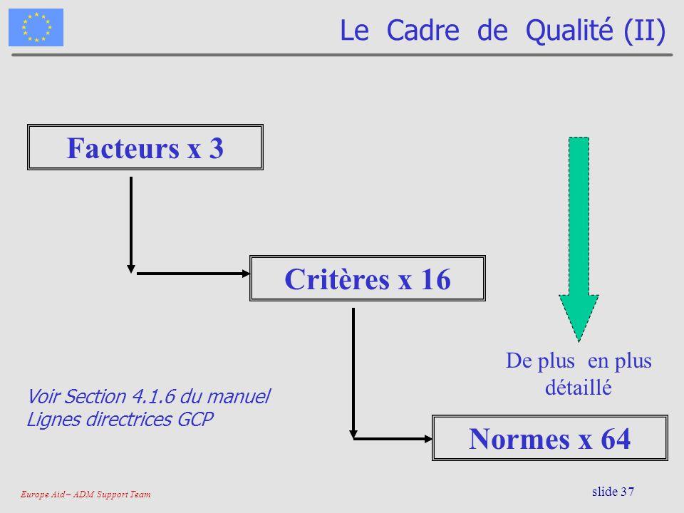 Le Cadre de Qualité (II)