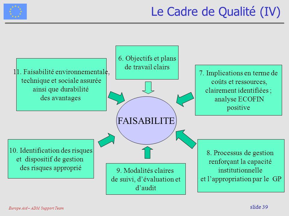 Le Cadre de Qualité (IV)