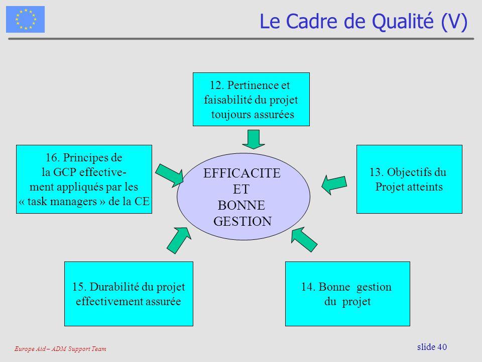 Le Cadre de Qualité (V) EFFICACITE ET BONNE GESTION