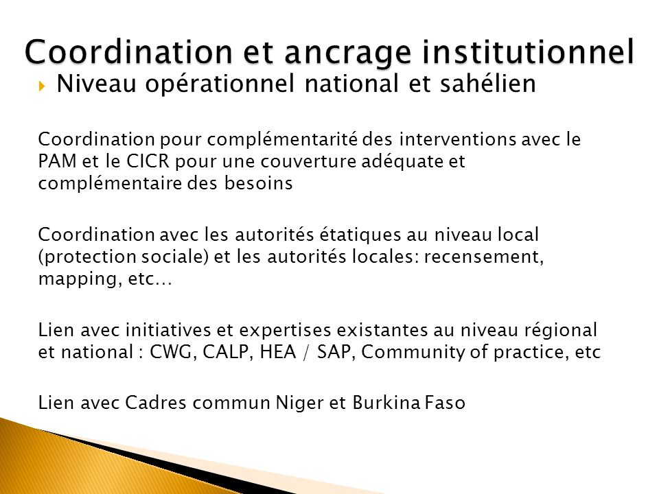 Coordination et ancrage institutionnel