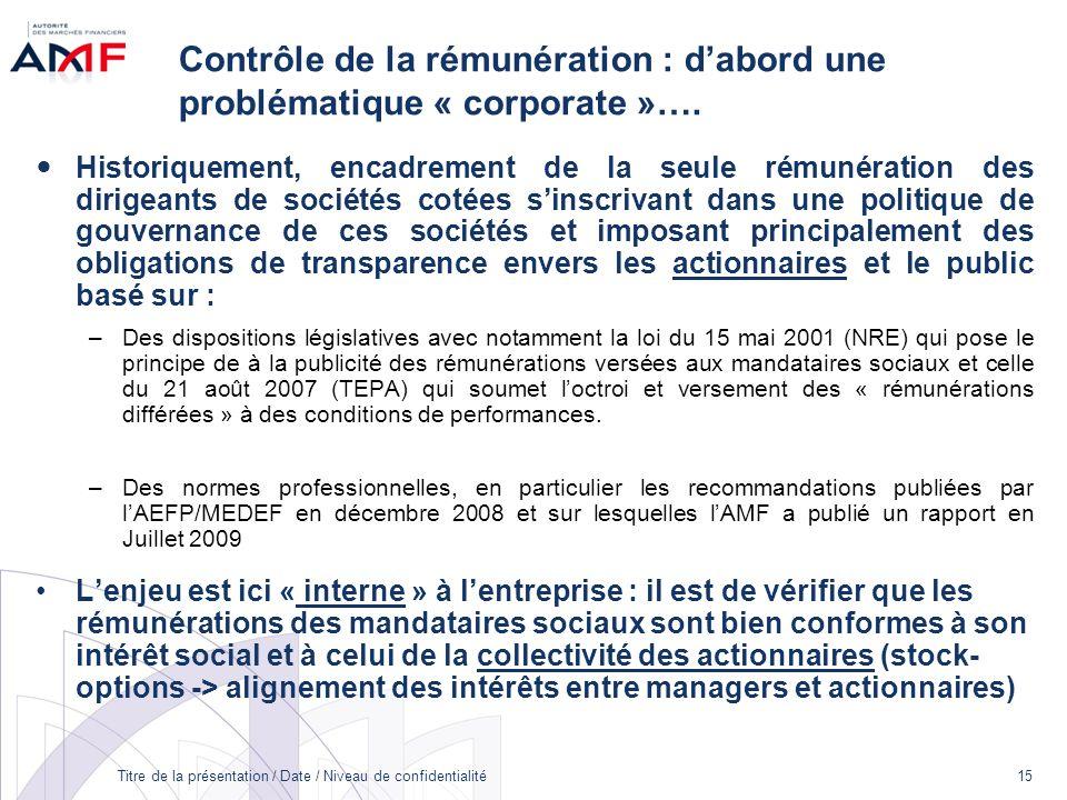 31/03/2017 Contrôle de la rémunération : d'abord une problématique « corporate »….