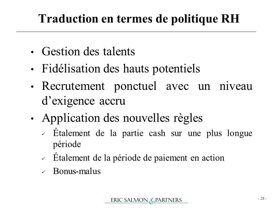 Traduction en termes de politique RH