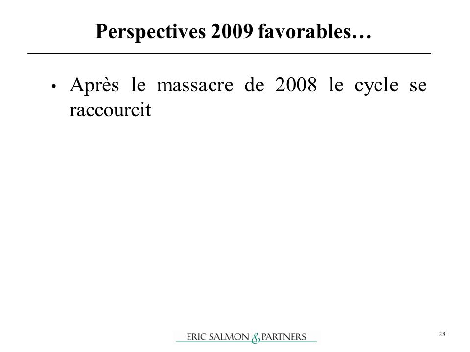 Perspectives 2009 favorables…