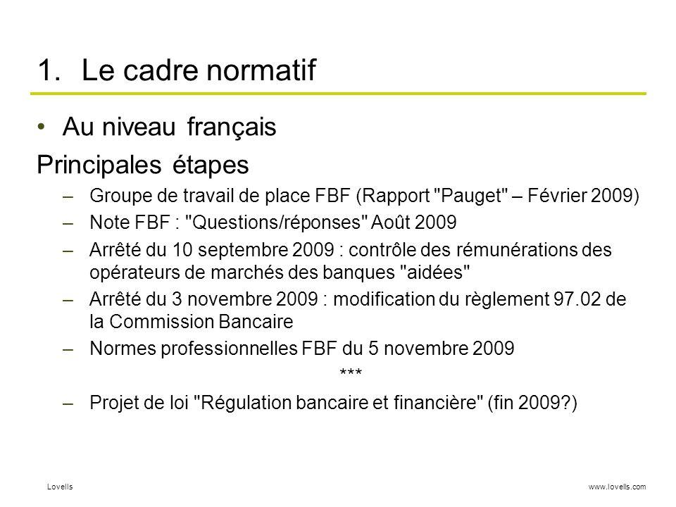 Le cadre normatif Au niveau français Principales étapes