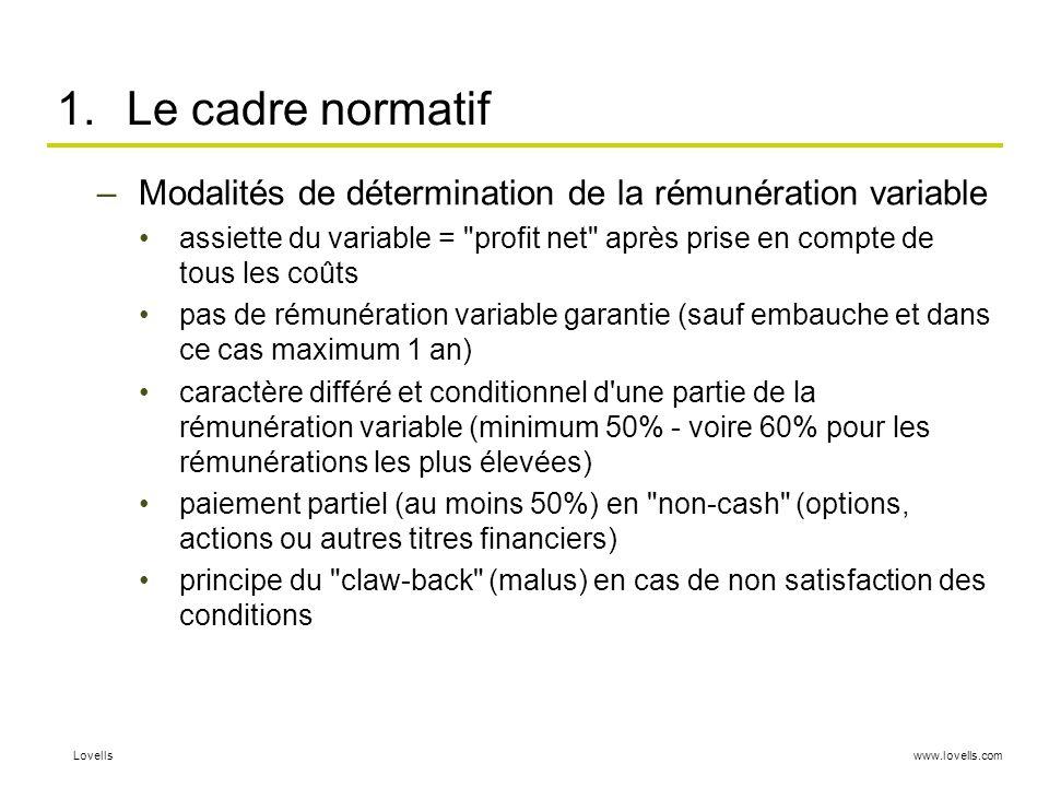 Le cadre normatif Modalités de détermination de la rémunération variable.