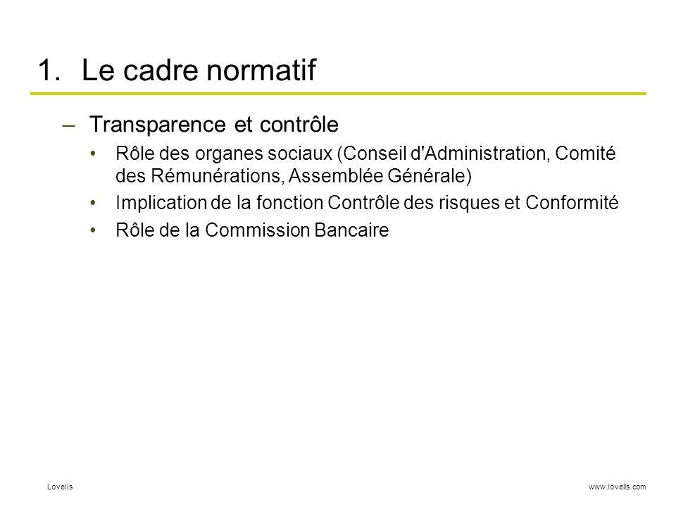 Le cadre normatif Transparence et contrôle