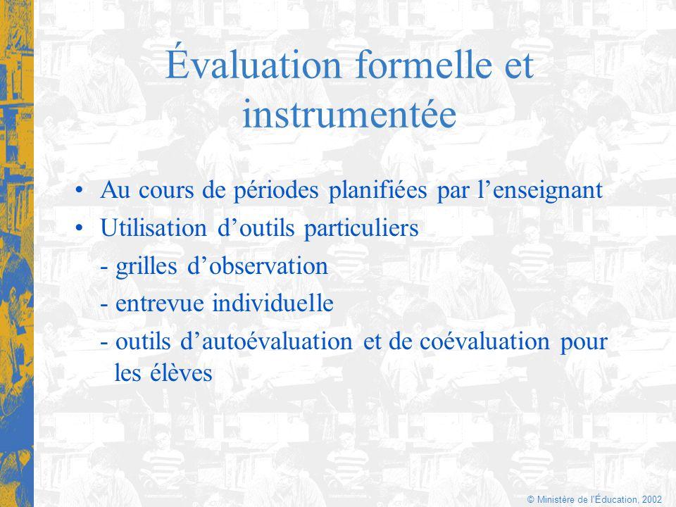 Évaluation formelle et instrumentée