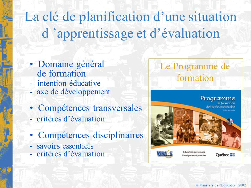 La clé de planification d'une situation d 'apprentissage et d'évaluation