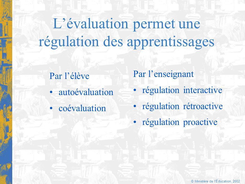 L'évaluation permet une régulation des apprentissages