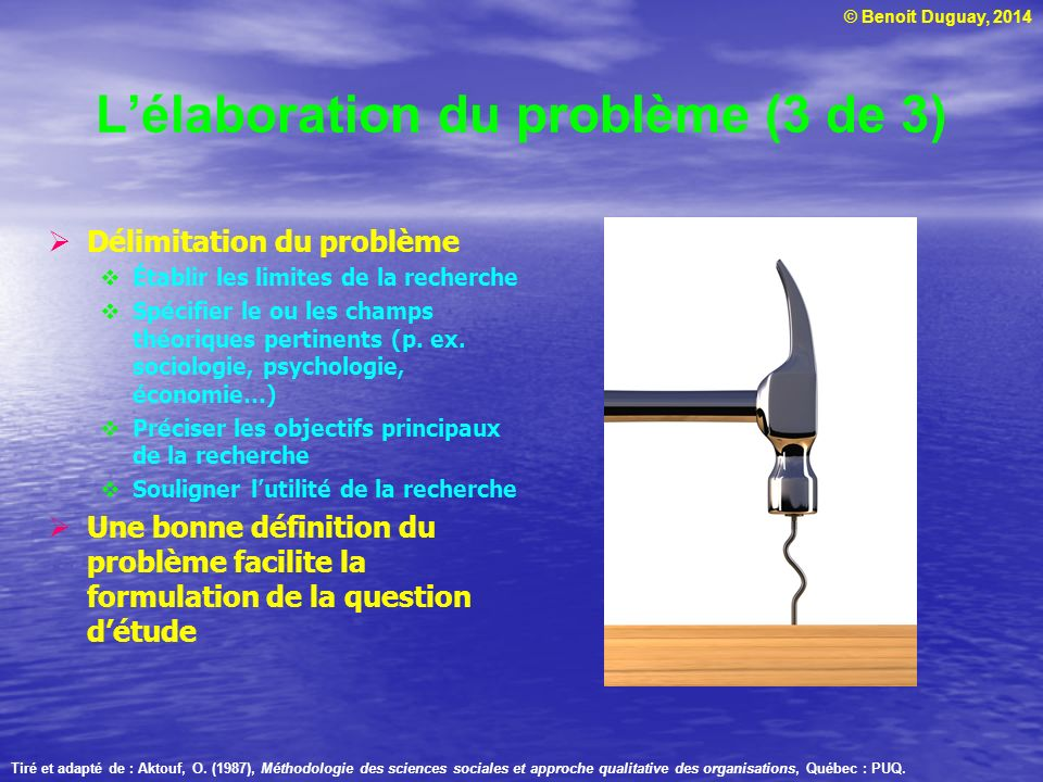 L'élaboration du problème (3 de 3)