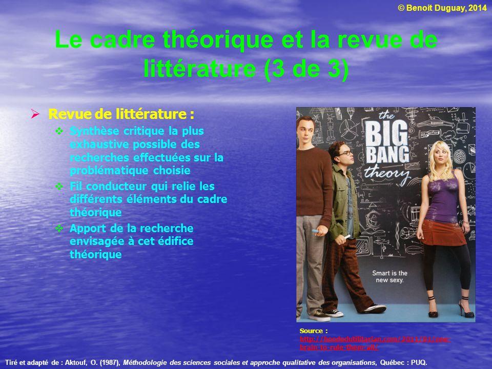 Le cadre théorique et la revue de littérature (3 de 3)