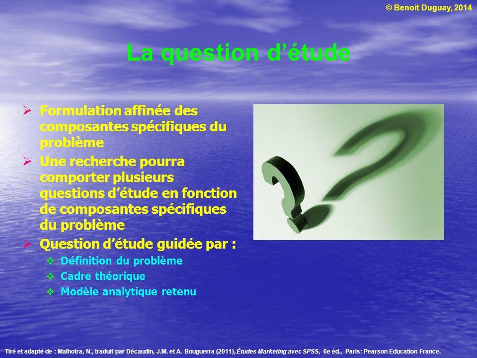 La question d'étude Formulation affinée des composantes spécifiques du problème.