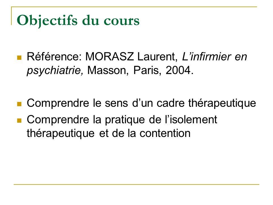 Objectifs du cours Référence: MORASZ Laurent, L'infirmier en psychiatrie, Masson, Paris, 2004. Comprendre le sens d'un cadre thérapeutique.