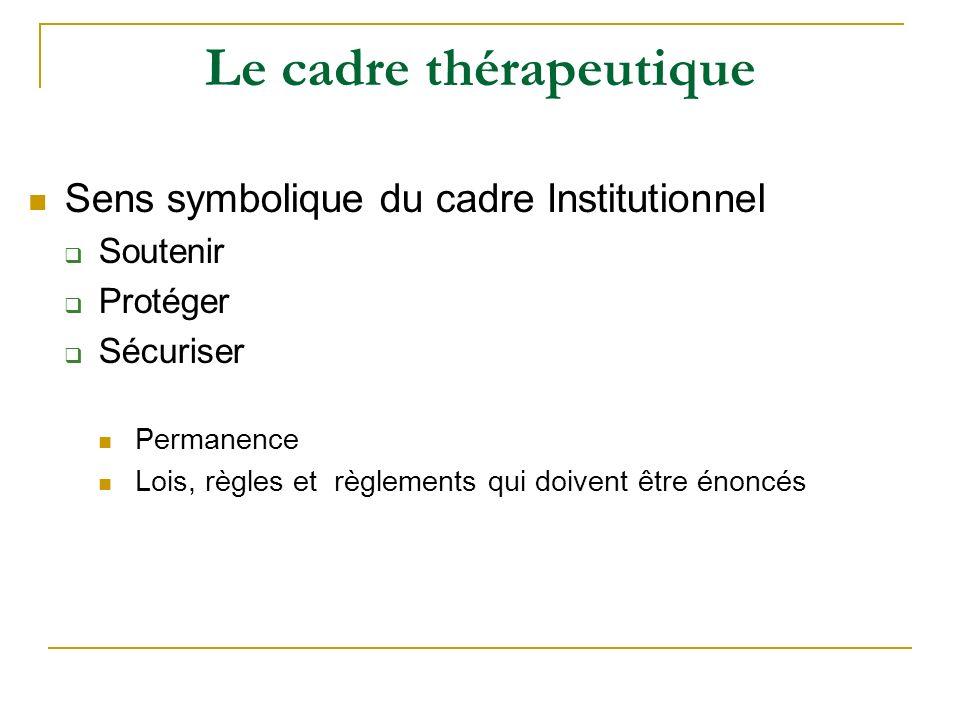 Le cadre thérapeutique
