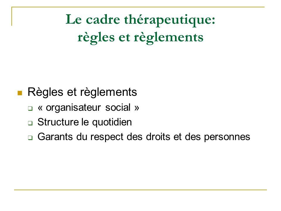 Le cadre thérapeutique: règles et règlements