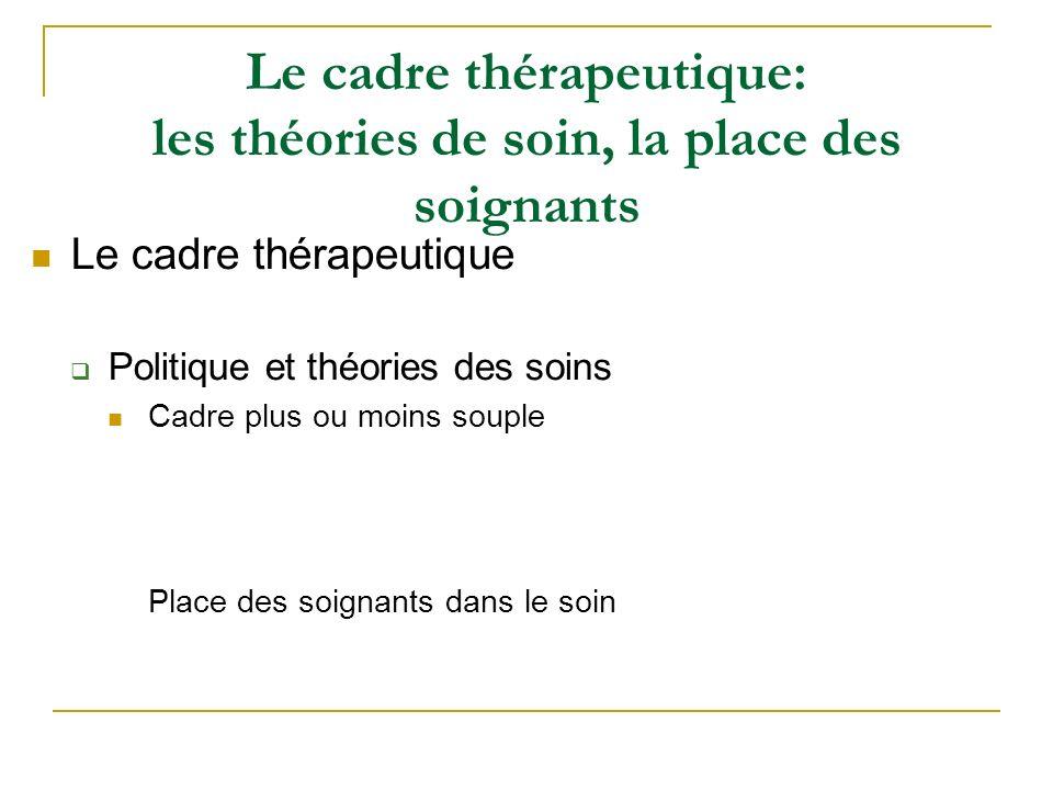 Le cadre thérapeutique: les théories de soin, la place des soignants