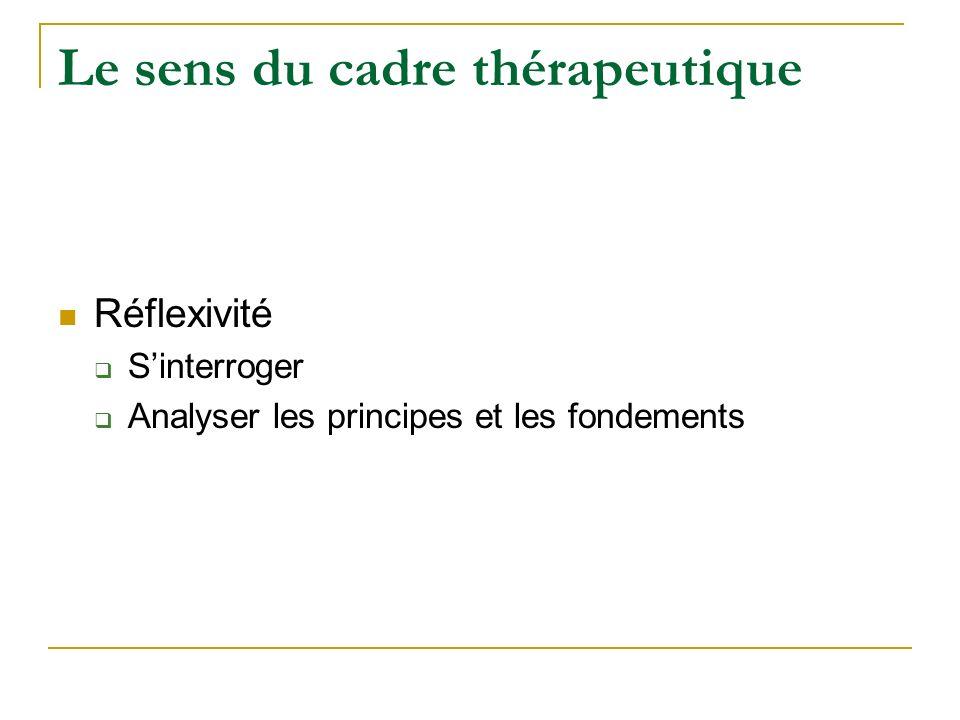 Le sens du cadre thérapeutique