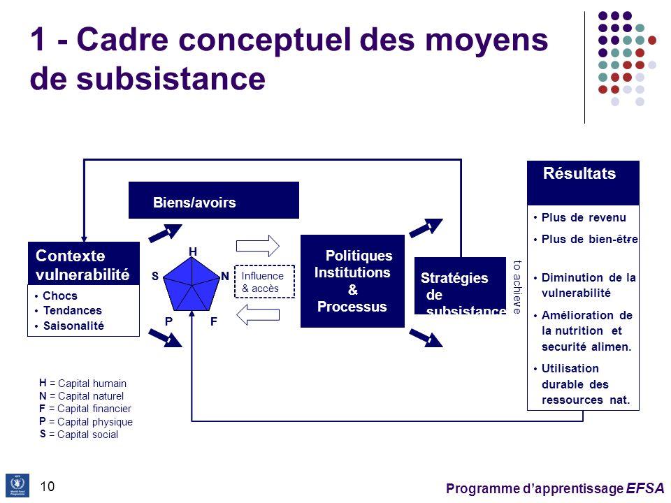 1 - Cadre conceptuel des moyens de subsistance