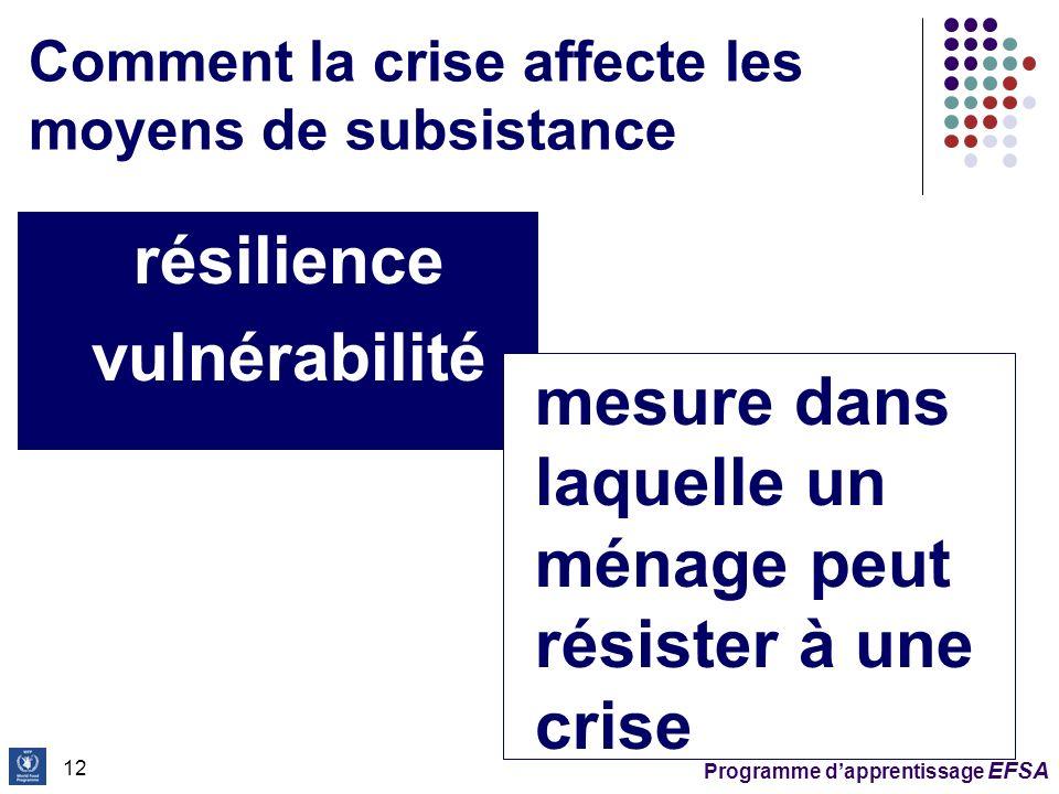 Comment la crise affecte les moyens de subsistance