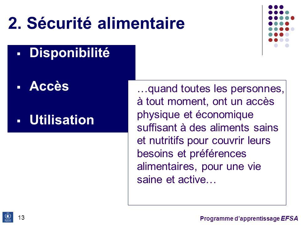 2. Sécurité alimentaire Disponibilité Accès Utilisation