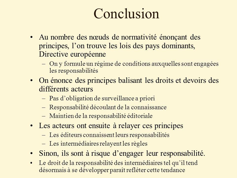 Conclusion Au nombre des nœuds de normativité énonçant des principes, l'on trouve les lois des pays dominants, Directive européenne.