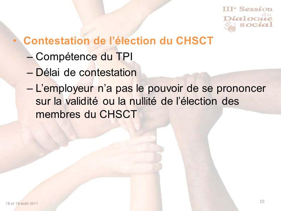 Contestation de l'élection du CHSCT