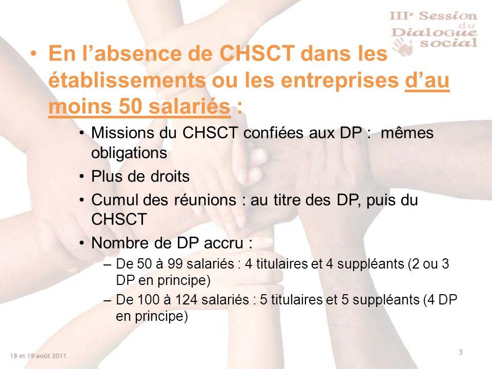 En l'absence de CHSCT dans les établissements ou les entreprises d'au moins 50 salariés :