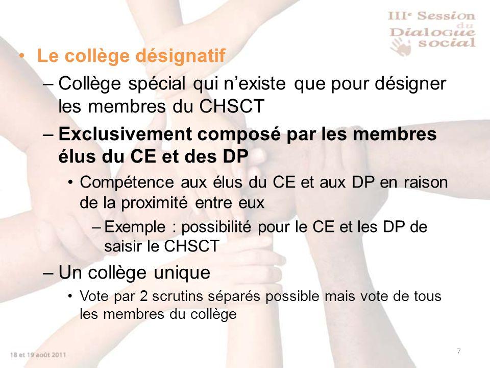 Collège spécial qui n'existe que pour désigner les membres du CHSCT