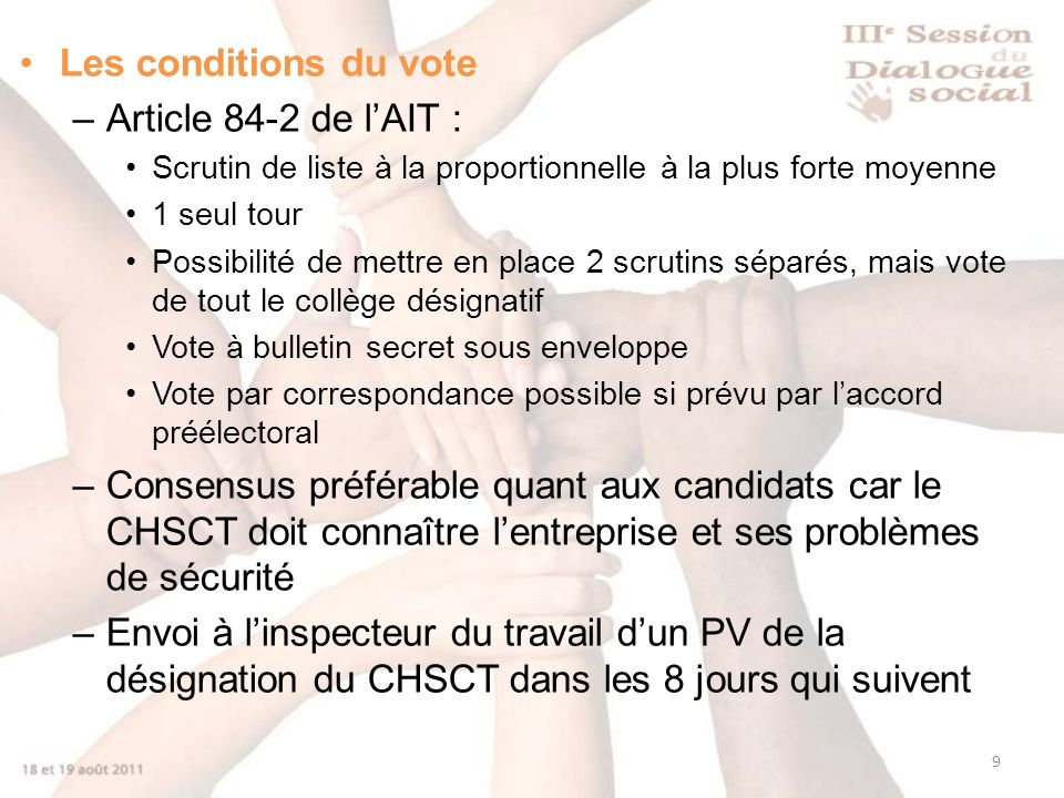 Les conditions du vote Article 84-2 de l'AIT :