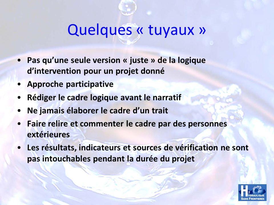 Quelques « tuyaux » Pas qu'une seule version « juste » de la logique d'intervention pour un projet donné.