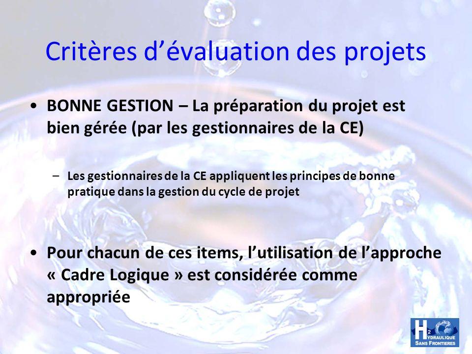 Critères d'évaluation des projets