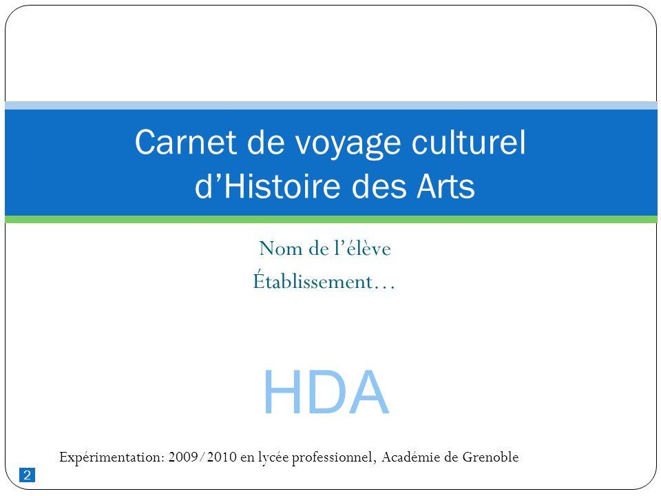 Carnet de voyage culturel d'Histoire des Arts