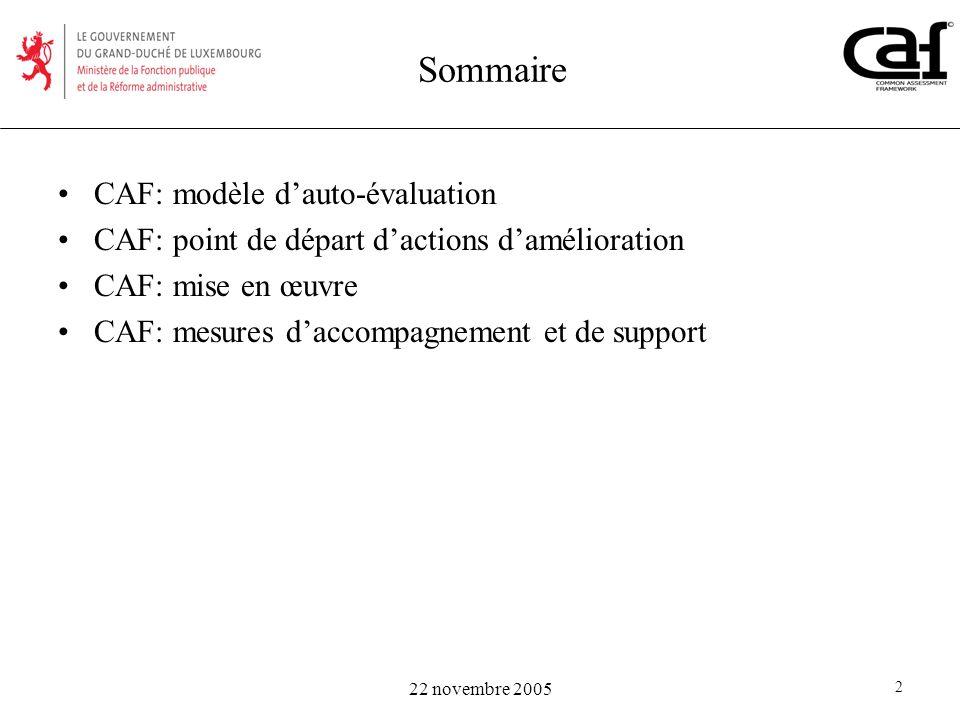 Sommaire CAF: modèle d'auto-évaluation