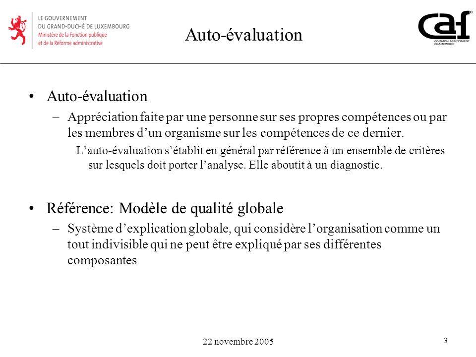 Auto-évaluation Auto-évaluation Référence: Modèle de qualité globale