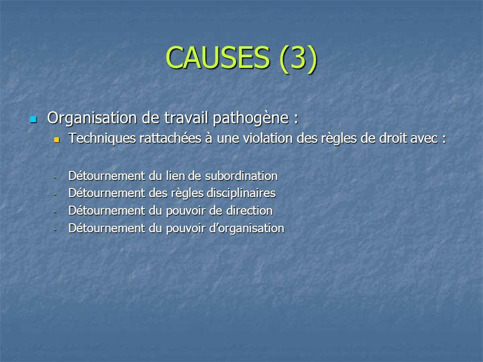CAUSES (3) Organisation de travail pathogène :
