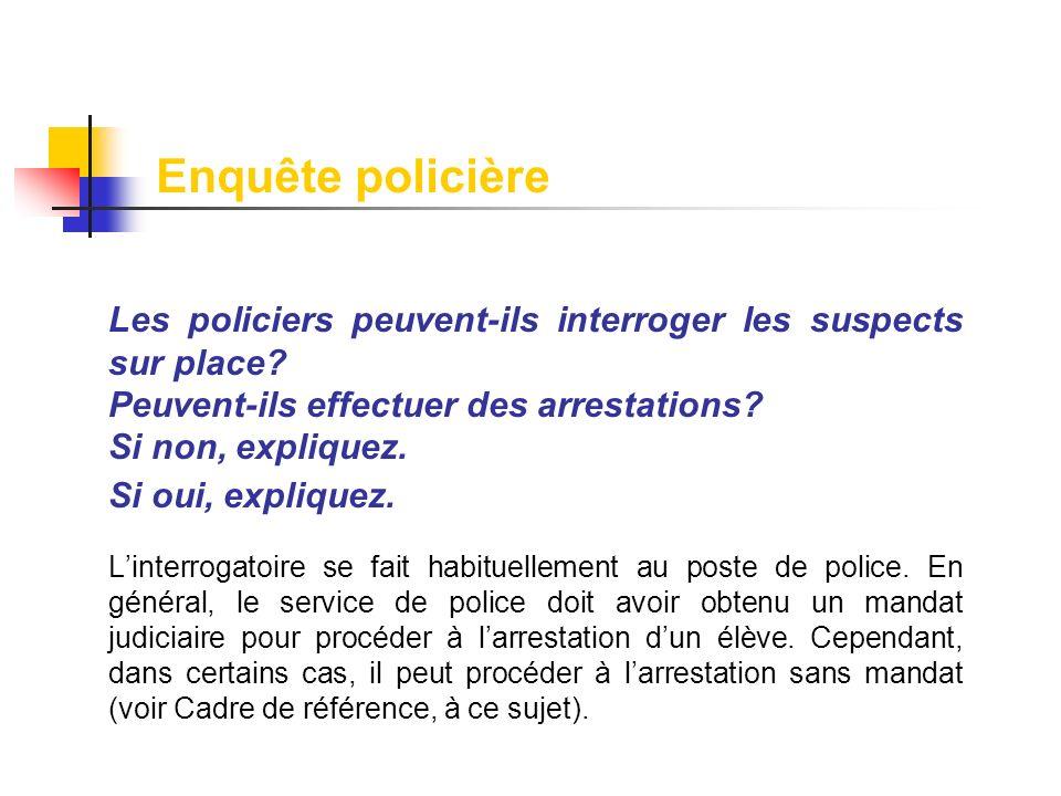 Enquête policière Les policiers peuvent-ils interroger les suspects sur place Peuvent-ils effectuer des arrestations