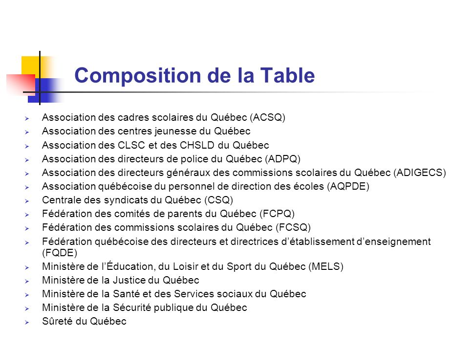 Composition de la Table