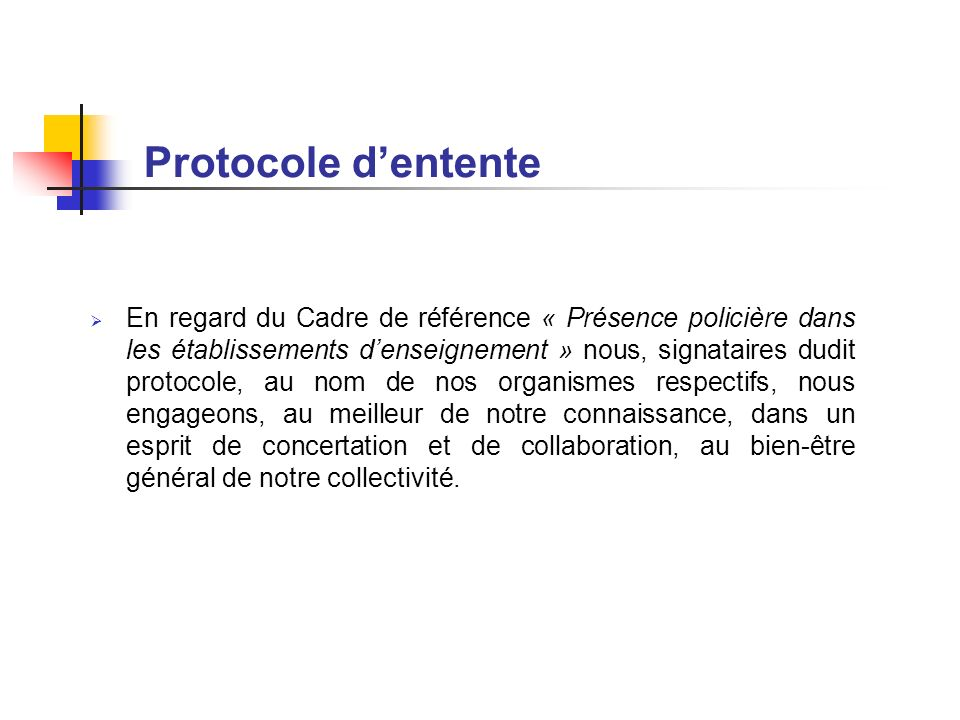 Protocole d'entente