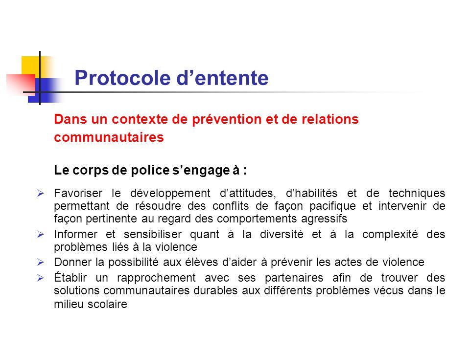 Protocole d'entente Dans un contexte de prévention et de relations