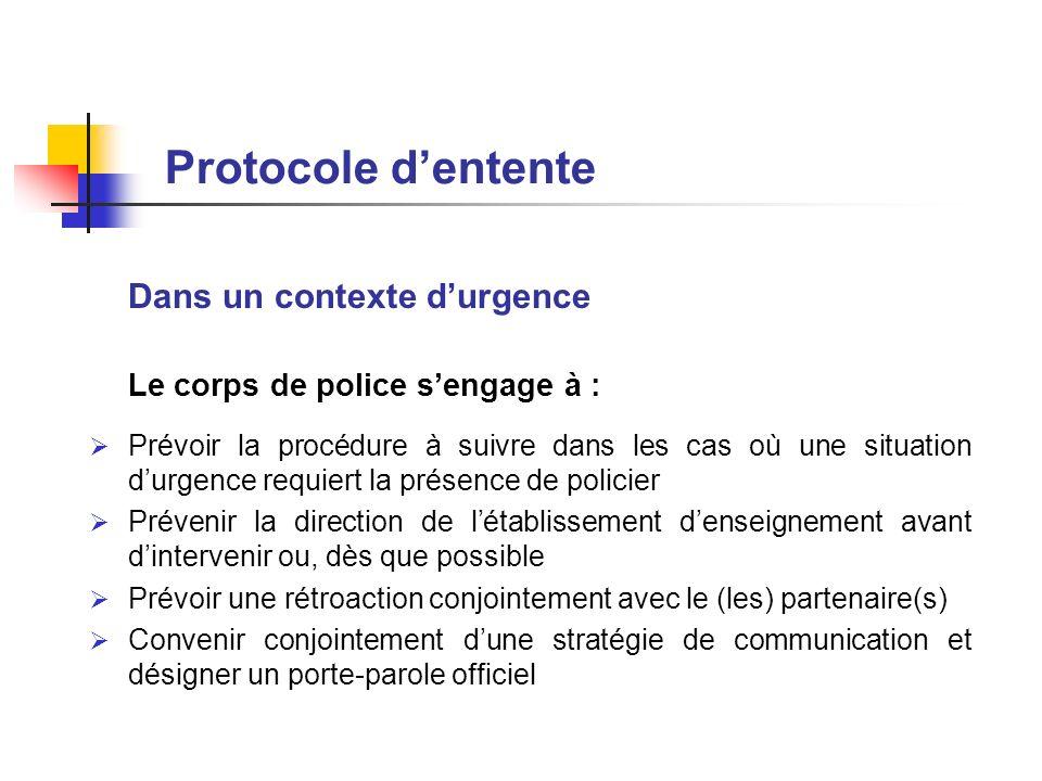 Protocole d'entente Dans un contexte d'urgence