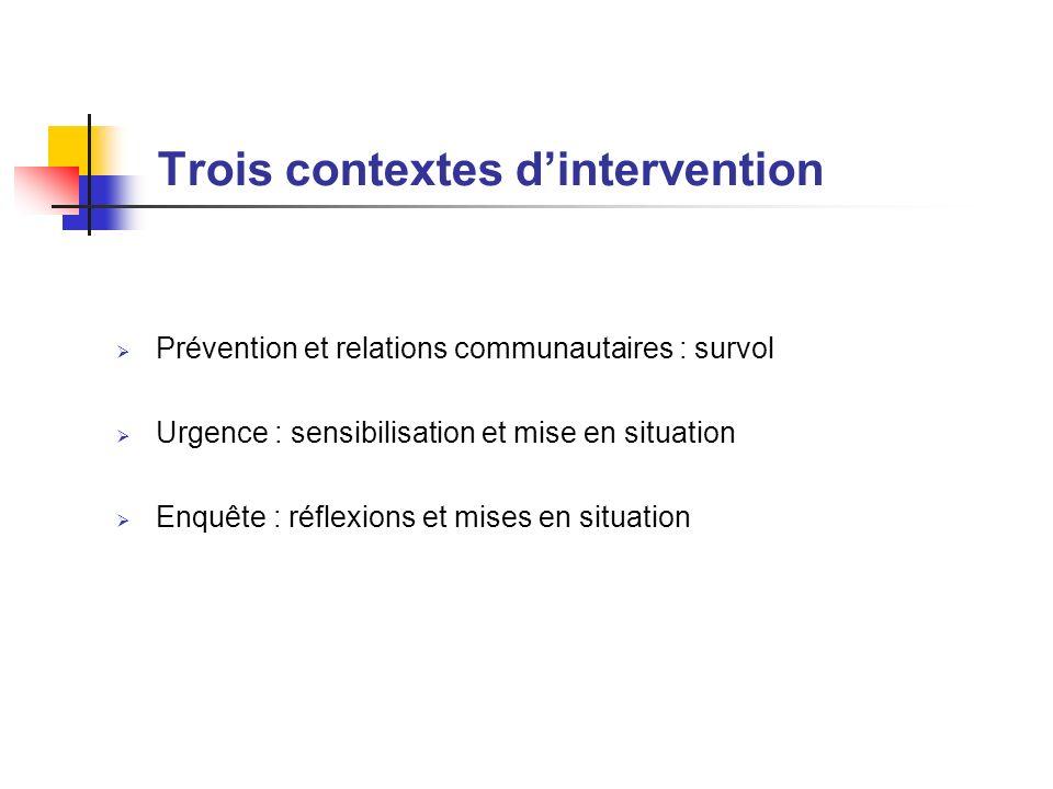 Trois contextes d'intervention