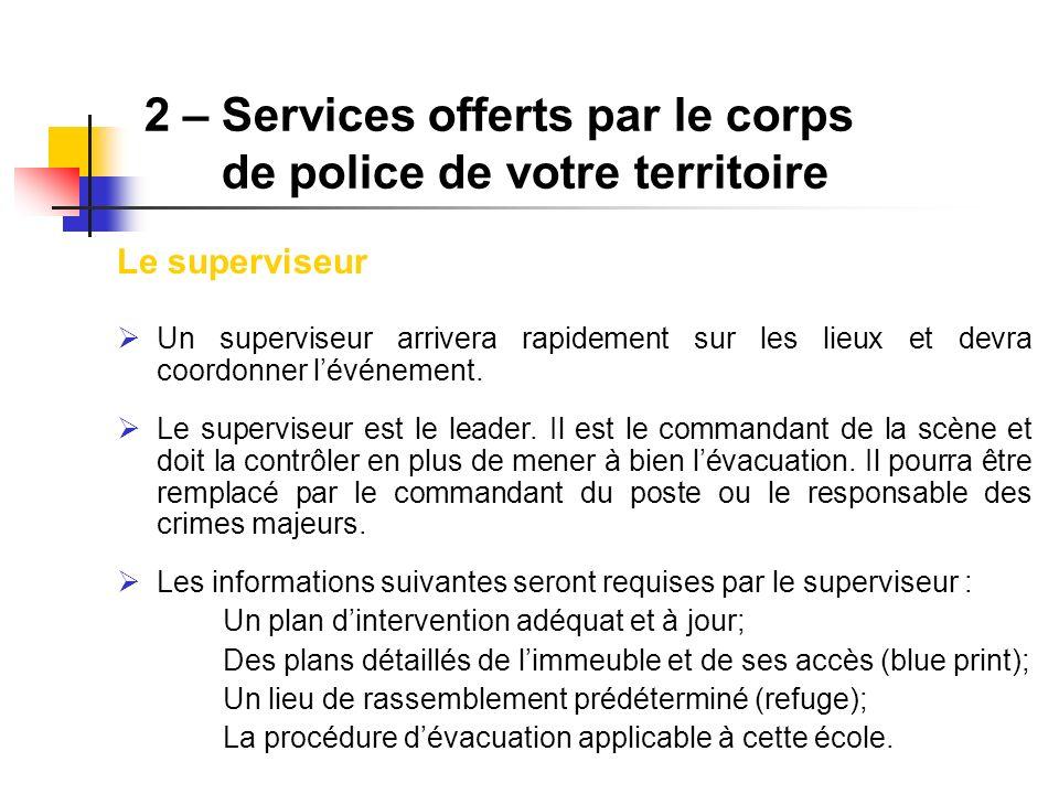 2 – Services offerts par le corps de police de votre territoire